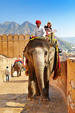 Tourists riding an elephant to the Amber Fort Amber Palace, Amer 11km from Jaipur, Rajasthan, India.