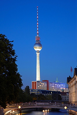 Tv Tower view by night from Spree river, Berlin