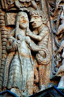 Tympanum of Sainte Croix church (12th century), at Bordeaux, Gironde, Aquitaine, France