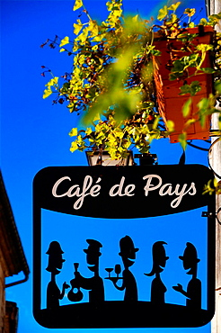 Cafe du Pays' sign at the 'bastide' of Monsegur, Gironde, Aquitaine, France