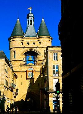 """France-Aquitaine-Gironde- """"Grosse Cloche"""" on """"Porte Saint eloi"""" at Bordeaux. Pilgrimage way to Santiago de Compostela."""