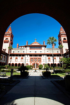Entrance Archway Ponce De Leon Hotel Building Flager College Saint Augustine Florida USA.