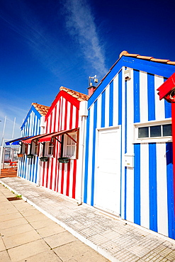 colored houses, Costa Nova, Beira Litoral, Portugal, Europe.