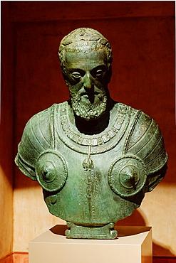 bust of Charles V, bronze, anonymous Leone Leoni second model, Monastery of San Jeronimo de Yuste, XV century, region of the Vera, Caceres, Extremadura, Spain, europe.
