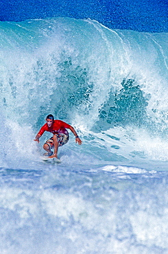 Barbados, Surfer is Riding a Wave, Caribbean Sea.
