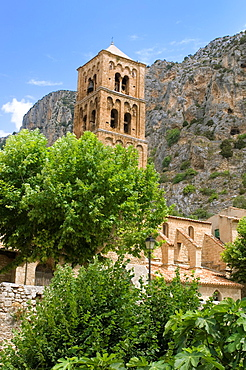 Moustier Ste-Marie, Mountain Village, Village of Moustiers-Sainte Marie, Church, Bell Tower, Provence, France.