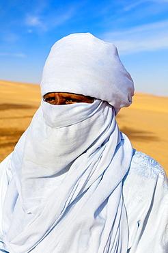 Tuareg, Close up, special Costume for Festival, Libyan Arab Jamahiriya, Libyan Desert.