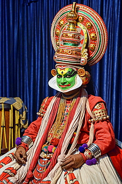 traditional Kathakali dance performer in Kerala, India.