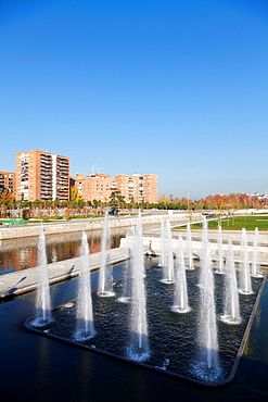 Manzanares River and Madrid Park. Fountains near Segovia Bridge, the first bridge of Madrid. Madrid Rio is the last great ecological development in the city.