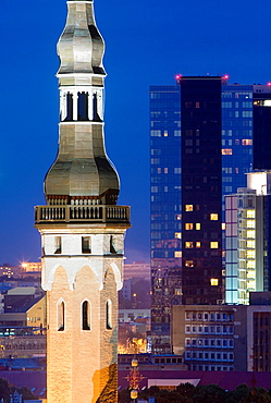 Town Hall Tower and modern city from viewing platform in Toompea district,Tallinn,Estonia.