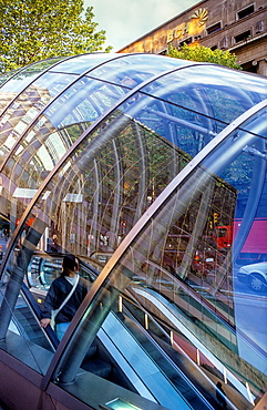 Fosterito', Subway entrance by architect Norman Foster, in Gran via, Bilbao, Biscay, Basque Country, Spain.