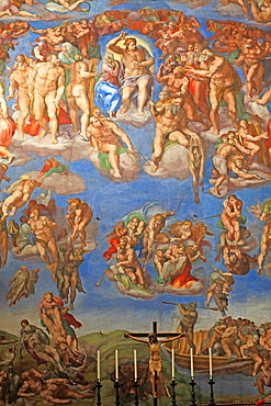 The Last Judgement by Michelangelo at the Sistine chapel, Vatican, Rome, Italy.