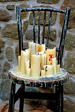 chairs with candles, artistic installations, Florejacs, Catalonia, Spain.