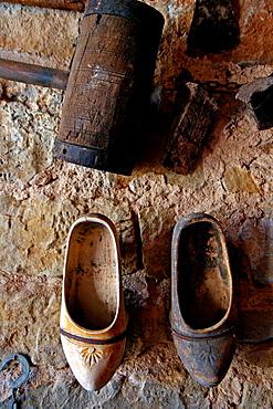 wooden shoes, clogs, farmhouse, Florejacs, Catalonia, Spain.