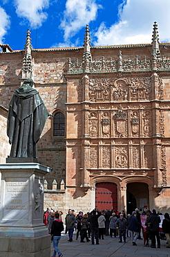 Pontifical University and statue of Fray Luis de Leon, Salamanca, Region of Castilla y Leon, Spain.