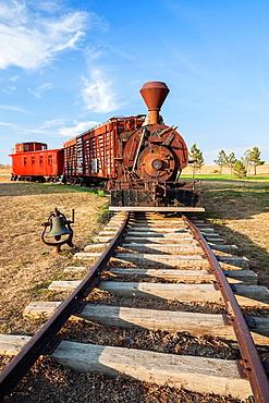 Antique steam locomotive at 1880 Town in South Dakota.