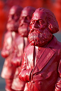 sculptures of Karl Marx, installation by the artist Ottmar Horl, Trier, Germany.