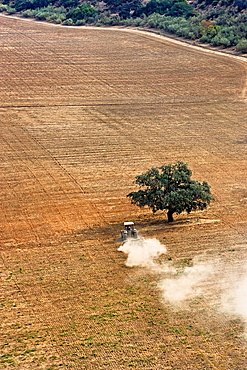 Aerial view of a tractor plowing the land in a sunny day, in the province of Jaen, Andalusia, Spain