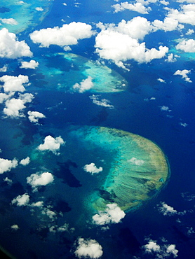 The Great Reef Barrier from the Sky, Cairns, Australia.