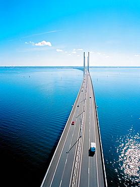 Traffic on Oresund Bridge from Denmark to Sweden, Europe