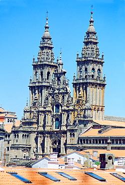 Facade of the cathedral. Santiago de Compostela, La Coruna province, Galicia, Spain.