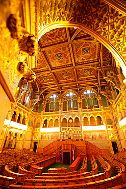 Assembly hall of the House of Representatives at Hungarian Parliament, Budapest, Hungary.