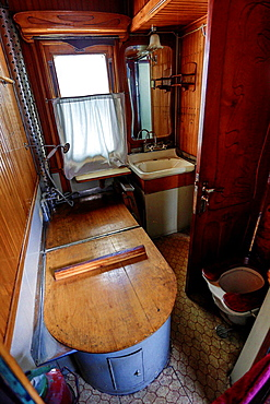 Georgia, Gori City, Stalin Museum, Batroom of the Stalin train coach.