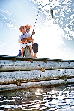 Father and son fishing, Utvalnas, Sweden
