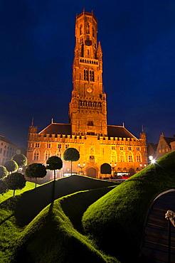Europe, Belgium, Bruges, Belfry tower dusk.