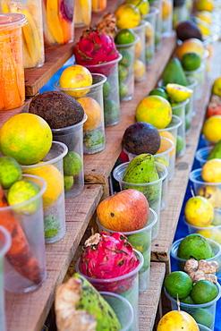 Fruit juice stand at the market in Luang Prabang, Laos.