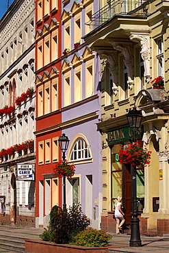 Nowa Ruda (german Neurode) town in Lower Silesia region. Poland. Houses in the Market Square.