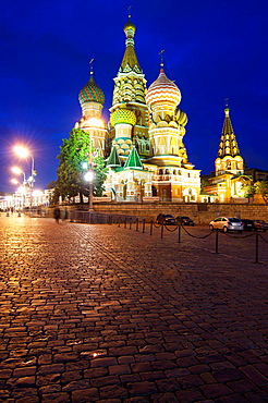 night view of the Orthodox Cathedral of St. Basil in Red Square in Moscow, Russia.