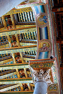 Detail of Central nave of the Cathedral, Monreale, Sicily, Italy, Europe