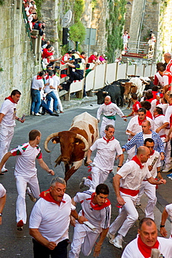 running of the bulls in San Fermin in Pamplona (Navarre).