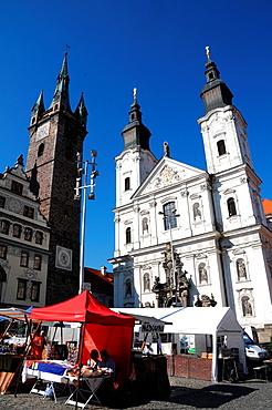 Jesuit church of Santa Maria and black tower in Klatovy