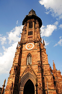 Tower of the Freiburg Munster with scaffolding