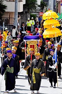 Naha, Okinawa, Japan, ceremony of inauguration of a new Chinese Confucian temple in Matsuyama neighborhood