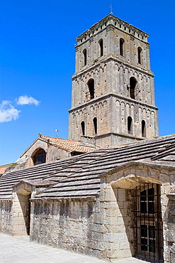 Tower of Saint Trophimus cathedral 12th century, monument declarated World Heritage by UNESCO. Arles, Bouches-du-Rhone department, in Provence-Alpes-Cote d'Azur, France.