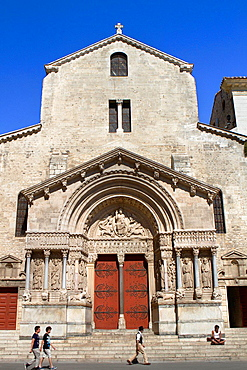 Main entrance of Saint Trophimus cathedral 12th century, monument declarated World Heritage by UNESCO. Arles, Bouches-du-Rhone department, in Provence-Alpes-Cote d'Azur, France.