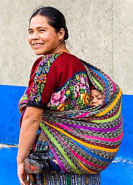 Maya woman with child, Poaquil, Guatemala
