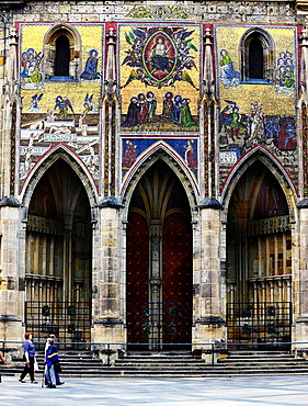 The colorful gate of the Town Hall astronomical Clock in Prague.