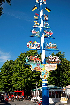 Germany, Bavaria, Munich, Maypole the Viktualienmarkt.