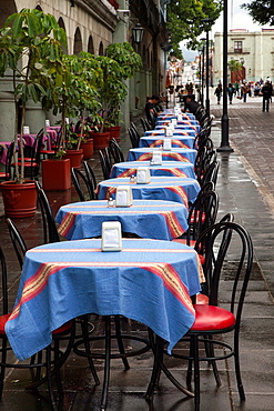 A restaurant and it's tables, Downtown Oaxaca City, Oaxaca, Mexico.