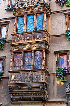 Detail of the 17th century Maison des Tetes in Colmar, Alsace, France, Europe