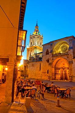 Terrace at the Cathedral Square, night view. El Burgo de Osma, Soria province, Castilla Leon, Spain.