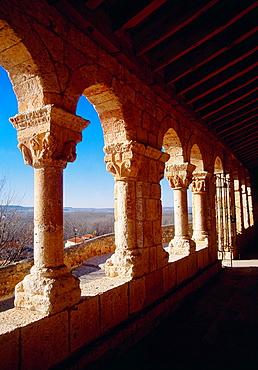 Portico of Nuestra Senora del Rivero church. San Esteban de Gormaz, Soria province, Castilla Leon, Spain.