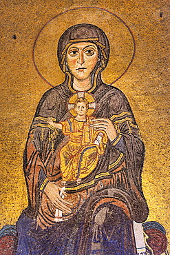 Greece, Central Macedonia, Thessaloniki, Agia Sophia church, listed as World Heritage, Mosaic of the Virgin and Child 12th C