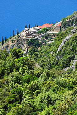 Greece, Chalkidiki, Mount Athos, World Heritage site, Monastic settlement near skete Aghia Annas.