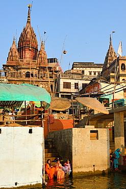 India, Uttar Pradesh, Varanasi, The Ghats.