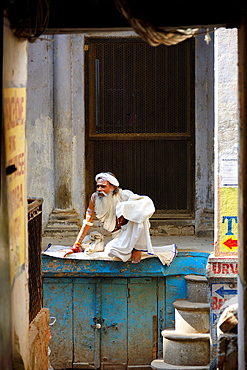 India, Uttar Pradesh, Varanasi, Sadhu (ascetic).